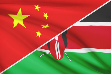 Series of ruffled flags. China and Republic of Kenya.
