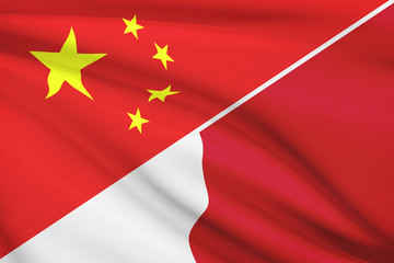 Series of ruffled flags. China and Republic of Malta.