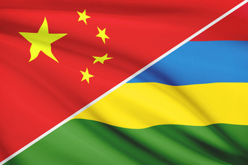 Series of ruffled flags. China and Republic of Mauritius.