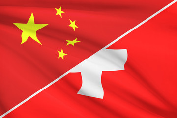 Series of ruffled flags. China and Swiss (Switzerland).
