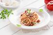 Leinwanddruck Bild - spaghetti mit vegetarischer bolognese