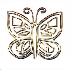 silhouette papillon bords chromés