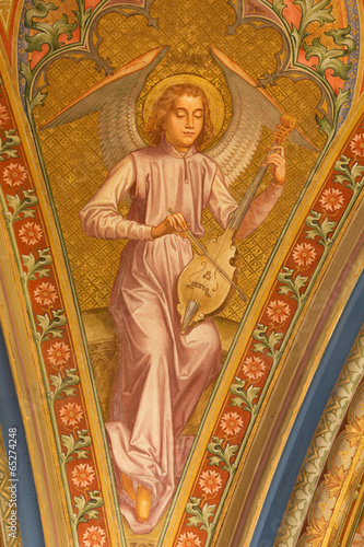 Vienna .- Fresco of angel with the music instrument