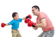 kid and father play with boxing gloves