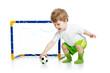child football player holding soccer ball