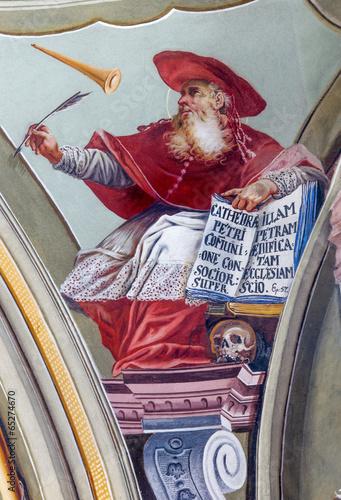 Leinwanddruck Bild Saint Anton palace - Fresco of saint Hieronymus