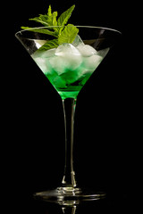 Cocktail with mint and ice