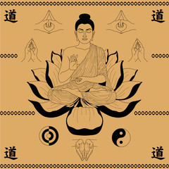 Buddha sitting in the lotus
