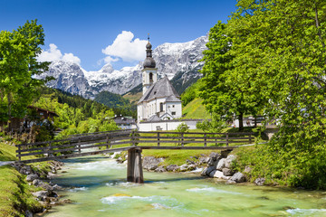 Idyllic landscape with church in the Alps, Bavaria, Germany