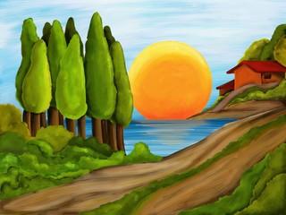 paesaggio con lago
