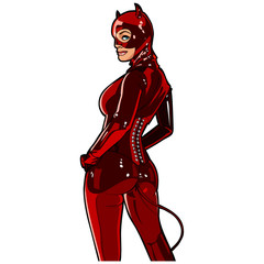 girl in a devil costume, red latex
