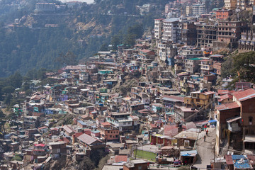A densely populated hillside in Shimla, Northern India