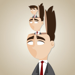 cartoon duplicate businessman in his head