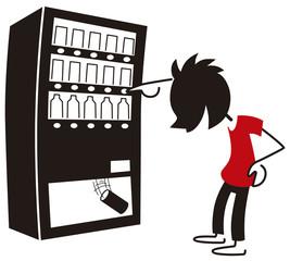 自動販売機でジュースを買う男性