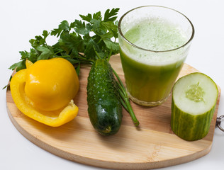 vegetables and green fresh squeezed juice for a healthy diet
