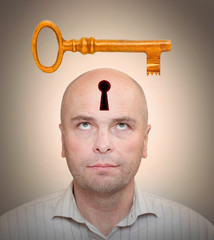 Man with locked head. Secrecy concept.