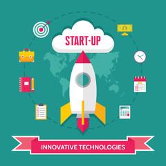 Start-Up Creative Illustration in Flat Design Style