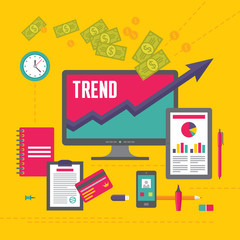 Business Trend Illustration in Flat Design Style