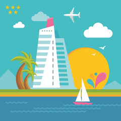 Summer Holiday on the Sea - Illustration in Flat Design Style