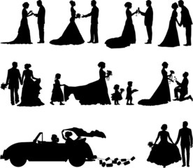 Wedding scene vector silhouette