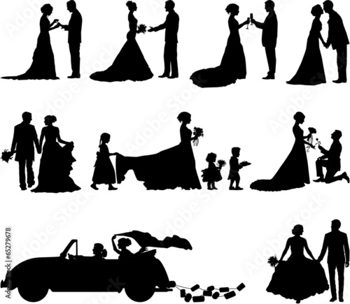 Wedding scene vector silhouette - 65279678
