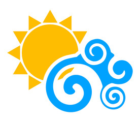 Vector illustration of sun an wave