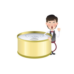 Businessman with can of tuna over white background