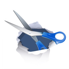 scissors inside hole paper over white background