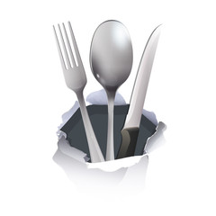 Realistic knife, spoon and fork