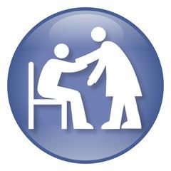 Blauer Button Altenpflege, Vektor und freigestellt