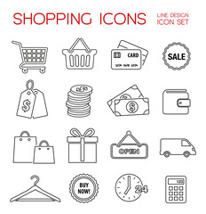 Shopping Icons - thin line design
