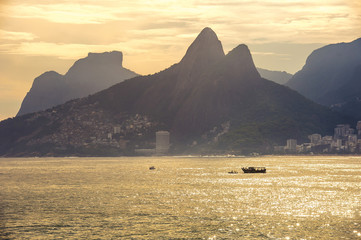 Sunset at Copacabana beach, Rio de Janairo, Brazil