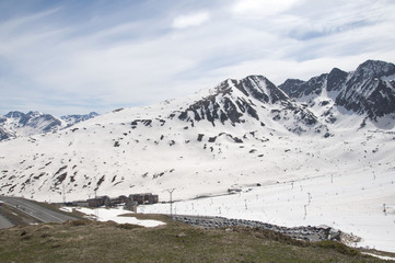 Snowed mountains in Pas de la Casa, Andorra
