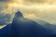 Leinwandbild Motiv Sunset at christ redeemer, Rio de Janeiro, Brazil