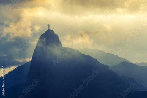 Poster Sunset at christ redeemer, Rio de Janeiro, Brazil