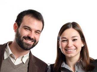 Happy couple over white background