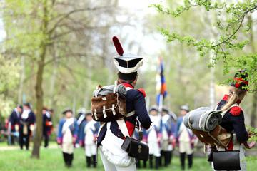 Żołnierze Napoleona w bitwie.