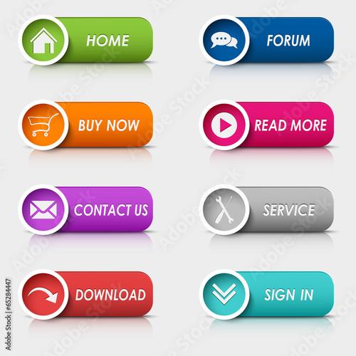 Colored set rectangular web buttons - 65284447