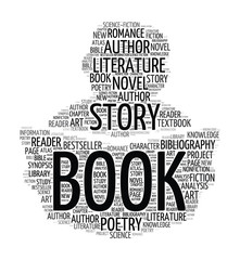 Silhouette reading book - word cloud