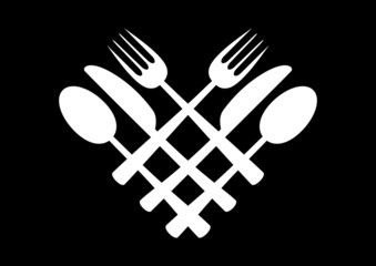 Black and white cutlery icon