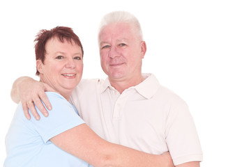 Happy seniors couple in love isolated over white background