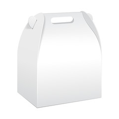 White Cardboard Carry Box Packaging For Food