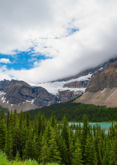 storm clouds over Crowfoot Glacier in Banff National Park