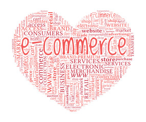 Heart Shaped Loving E-Commerce Online Shopping Concept Word Clou