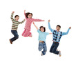 Four children jumping