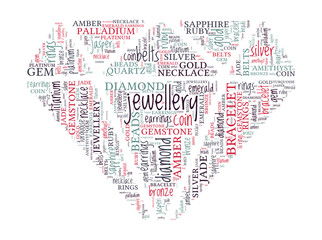 Jewellery Concept - Diamond Shaped Word Cloud
