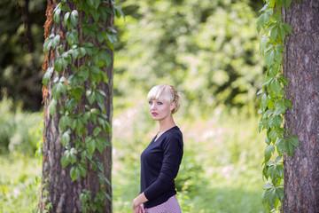 Woman walks on wood