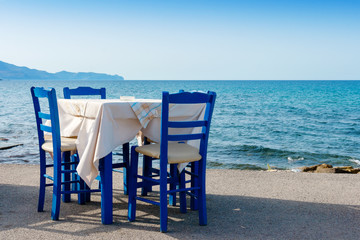 Sidewalk cafe in Kissamos. Crete, Greece
