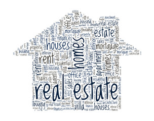 Real Estate Concept - House shaped word cloud