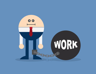 Character locked to a ball and chain with the word work